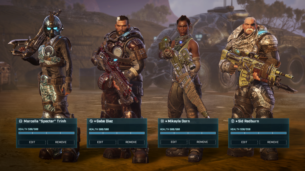 Four heroes showing off customization
