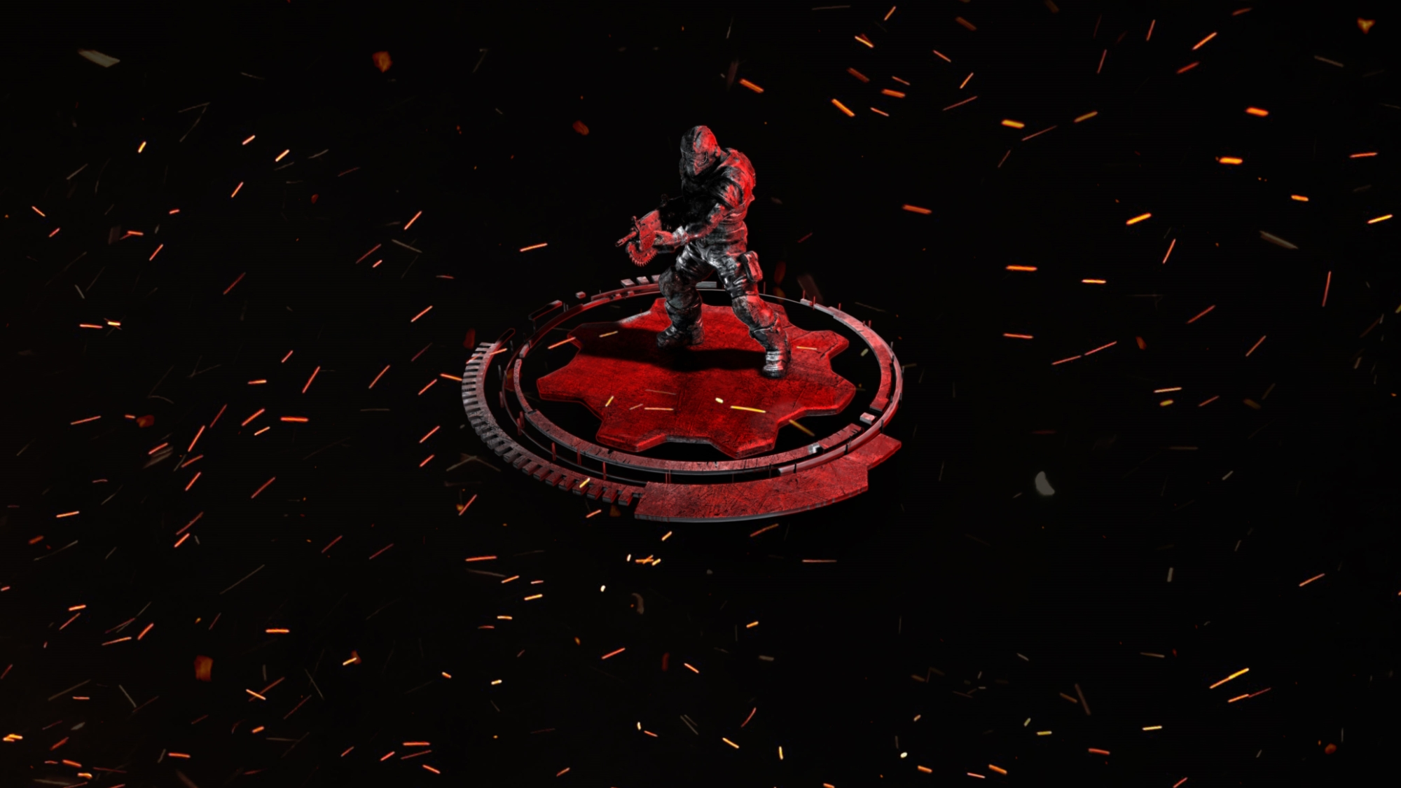 Isolated red-highlighted COG Soldier on a red cog surrounded by sparks