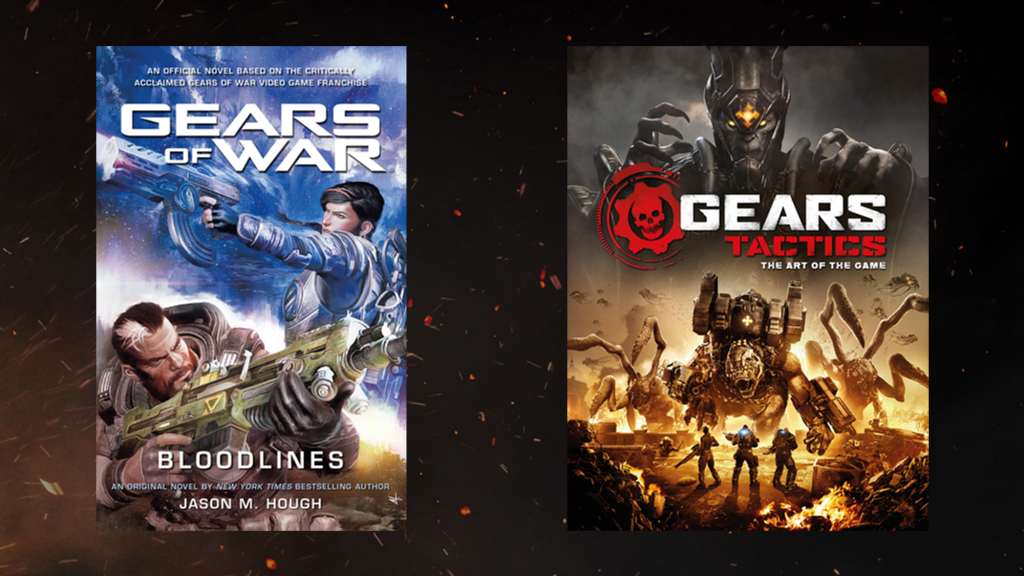 """Book covers for """"Gears of War: Bloodlines"""" and """"Gears Tactics: The Art of the Game"""" against an ember-filled backdrop."""
