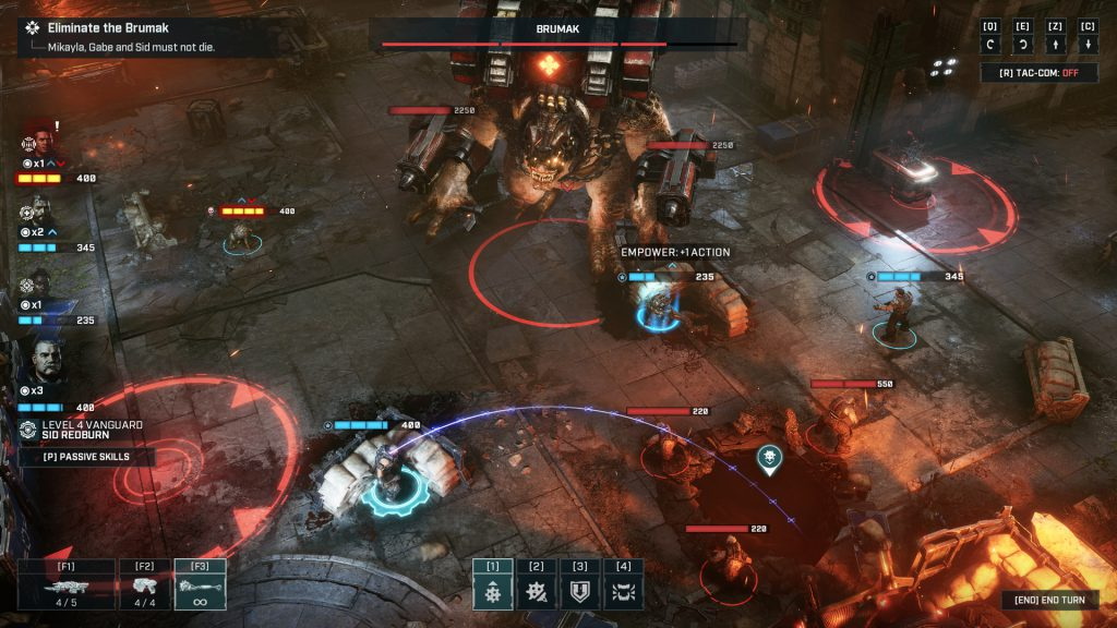 An in-game battle screenshot from Gears Tactics with the main characters fighting against a Brumak