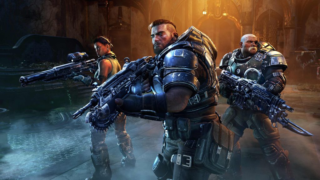Mikayla, Gabe, and Sid ready for battle in Gears Tactics