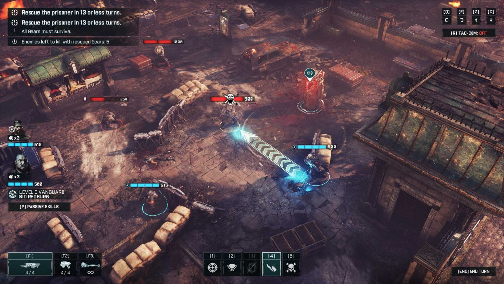 An in-game battle gameplay from Gears Tactics featuring a sample of targeting