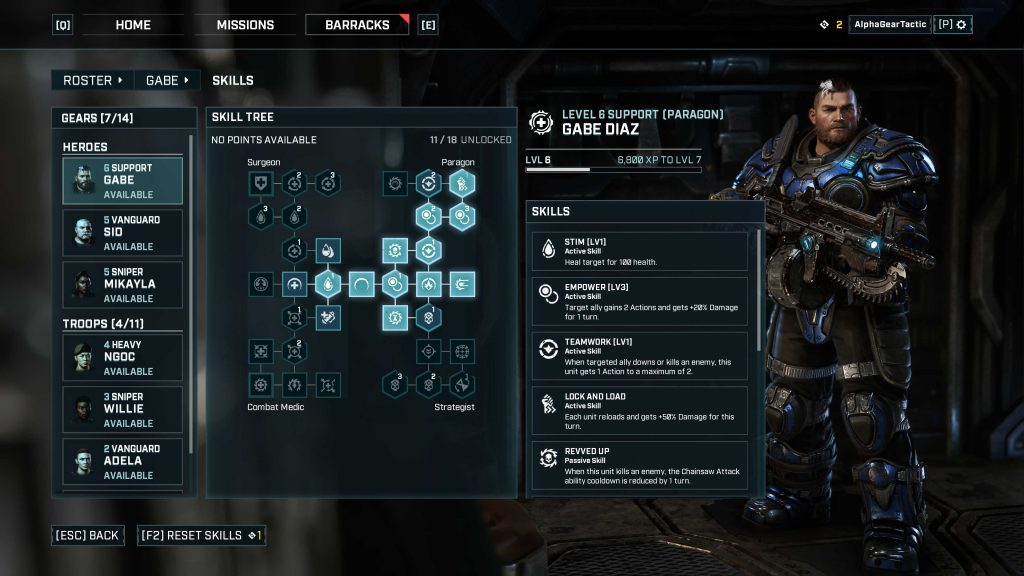 The character customization screen from Gears Tactics, highlighting the skill tree for Gabe Diaz