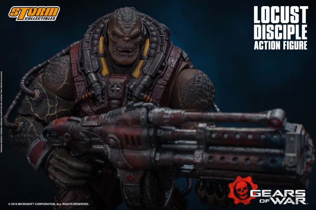 The Locust Disciple Action Figure holding a weapon