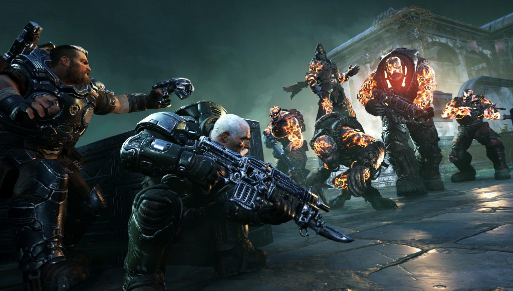 Gabe and Sid in cover attacking a series of Deviant enemies with Ukkon leading them in the background