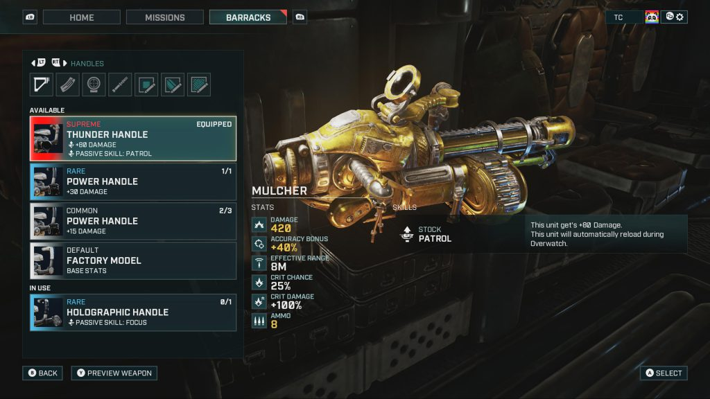 An example of the new Supreme loot in Gears Tactics. The weapon in the image is a gold-colored Mulcher