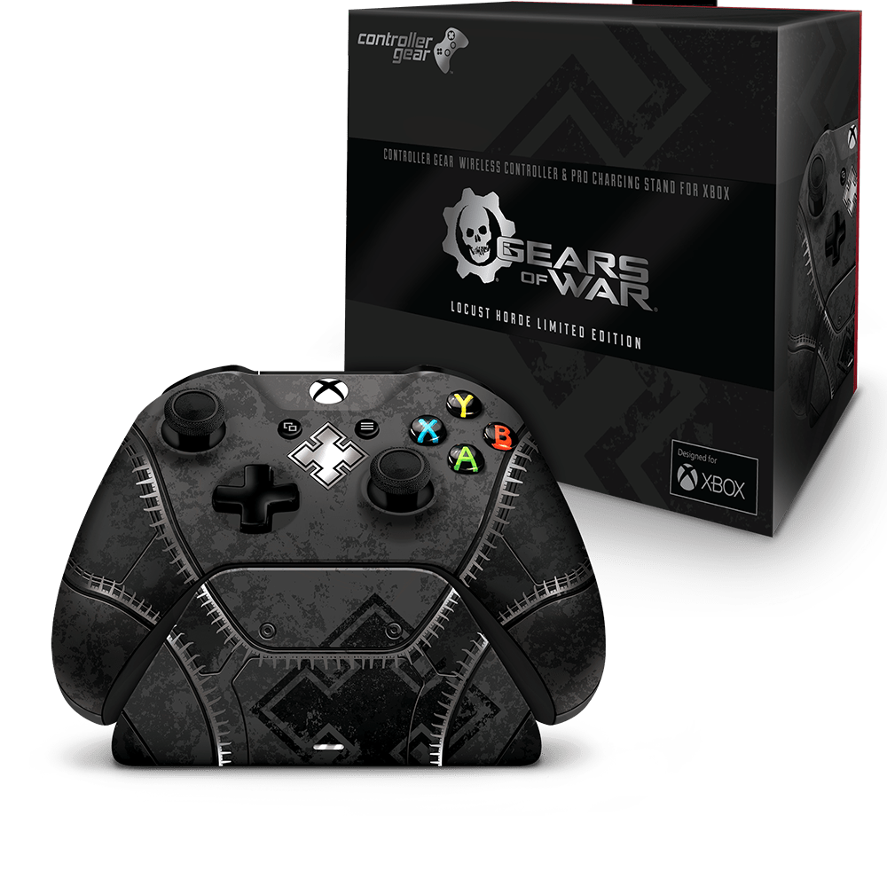 An image of the Gears of War - Locust Horde controller, charging stand, and packaging