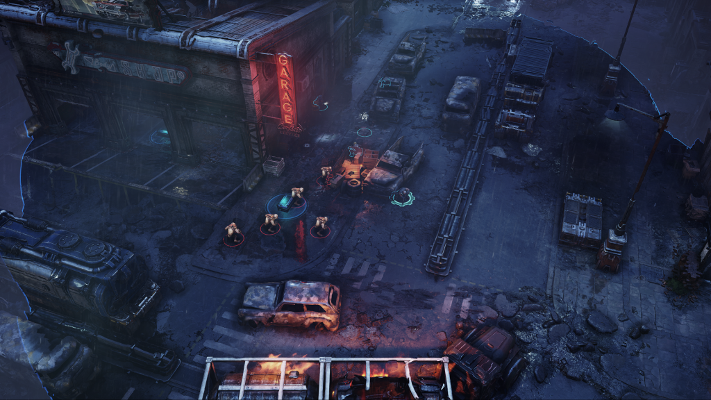 Image of a battlefield with a glowing neon sign and enemies in a destroyed road. The image was captured on the Xbox Series X showing enhanced reflections OFF