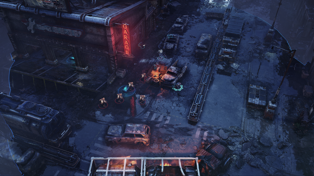 Image of a battlefield with a glowing neon sign and enemies in a destroyed road. The image was captured on the Xbox Series X showing enhanced reflections ON